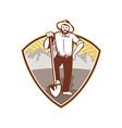 Gold Digger Miner Prospector Shield vector image