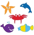 Sea animals collection format vector image