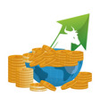 bull wall street money coins vector image