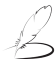 Feather with line vector image