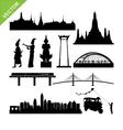 Bangkok symbol and landmark silhouettes vector image