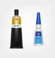 branded metal and plastic glue tubes vector image