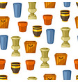 garden pots seamless pattern with various color vector image