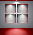 Gray room with niches vector image
