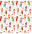lovely girls seamless pattern red lips vector image