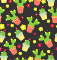 Dark pattern with cactus and flowers vector image