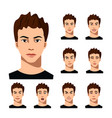 set of male facial emotions vector image