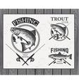 Vintage trout fishing emblems labels and design vector image