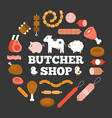 butcher shop headline and product icon vector image