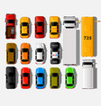 cars top view city vehicle transport icons set vector image