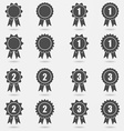 Icon set of award badges or medals with ribbons vector image