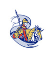 Knight With Flag Shield Horse Retro vector image