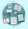 Set of books e-book and stationery for your design vector image