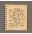 Notebook design art tree Old grunge paper vector image
