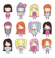 set collections of cute girls holding hearts and vector image
