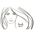 Young woman face with long blond hair vector image vector image