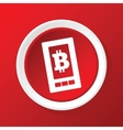 Bitcoin screen icon on red vector image
