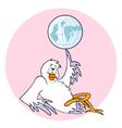 bird with a globe vector image vector image