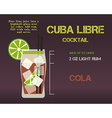 Cuba Libre cocktail recipe and preparation vector image