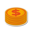 dollar coin stack icon vector image