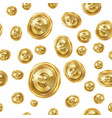 euro seamless pattern gold coins isolated vector image