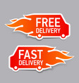 Free and fast delivery labels vector image