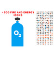 oxygen gas cylinder icon with bonus energy set vector image