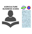 reader boy icon with agriculture set vector image