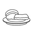 sushi food japanese fish rice plate outline vector image