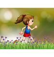 A girl jogging near the garden vector image
