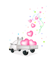 Lovely Hearts Dropped on A Pickup Truck vector image vector image