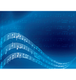 music notes - blue abstract background vector image