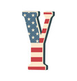 capital 3d letter y with american flag texture vector image