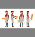 carpenter worker different poses full vector image