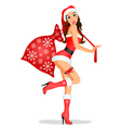 Christmas girl with gifts vector image