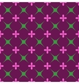 Green star and pink flower seamless pattern vector image