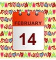 Valentine s day calendar icon on pattern with vector image