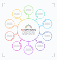 minimal style circle infographic template with 10 vector image