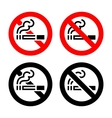 Signs set - No smoking vector image vector image