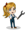 girl mechanic with wrench vector image vector image