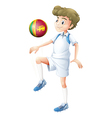 A young man using the ball with the flag of Sri vector image