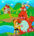 Knight and dragon by the river vector image