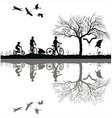 Family cycling on the edge of the lake vector image
