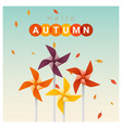 hello autumn background with colorful pinwheels vector image