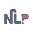 NLP logo and emblem Hand holding a letter with vector image