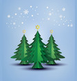 origami made christmas tree and snow flake vector image