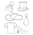 set of clothes and accessories vector image