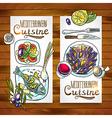 vertical banners mediterranean cuisine one wood vector image