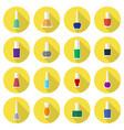 multicolored nail polishes flat icon set vector image
