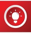 Lightbulb icon on red vector image